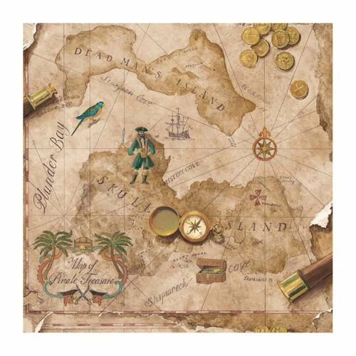 Pirates Treasure Chest Map on Light Brown Sure Strip Wallpaper BT2817 Pirate