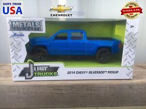 Just Chevy Trucks >> Details About 2014 Chevy Silverado Pickup Jada Toys Just Trucks Blue Metals Diecast Truck 1 32