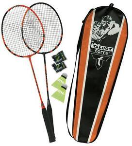 Talbot-Torro-Badminton-spielset-federball-Black-Magic-orange-2-Schlaeger-Baelle