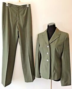 af80f2f2fad1 Amanda Smith Olive Green 2 Piece Blazer Jacket size 8 Pants size 6 ...