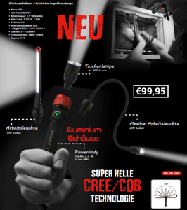 PowerHand batterie 3 in 1 Li-Ion Inspection Lampe 350 lm 5 W COB Cree sin-100.1060