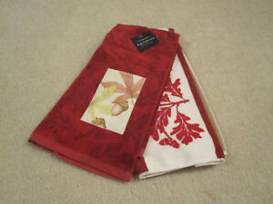 Details about Fall Acorn Leaves kitchen bath hand towel new with tags set  of 2 leafs red