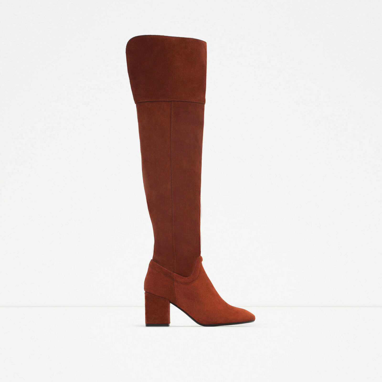 ZARA Over The Knee Boot Boiler Red Leather Autumn Winter 2015 UK4 EU37 US6 NEW