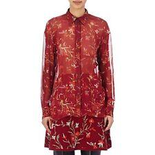 NWT $1235 BALENCIAGA Sheer Red Floral Poppy Print Silk Relax Blouse Shirt Top 40