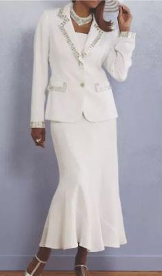 Ashro White Formal Dress Beaded Leading Lady Skirt Suit Church Wedding Party 6 8 | eBay