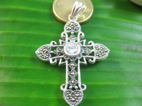 100/% Real 925 Sterling Silver marcasite /& cz antique vintage cross pendant women