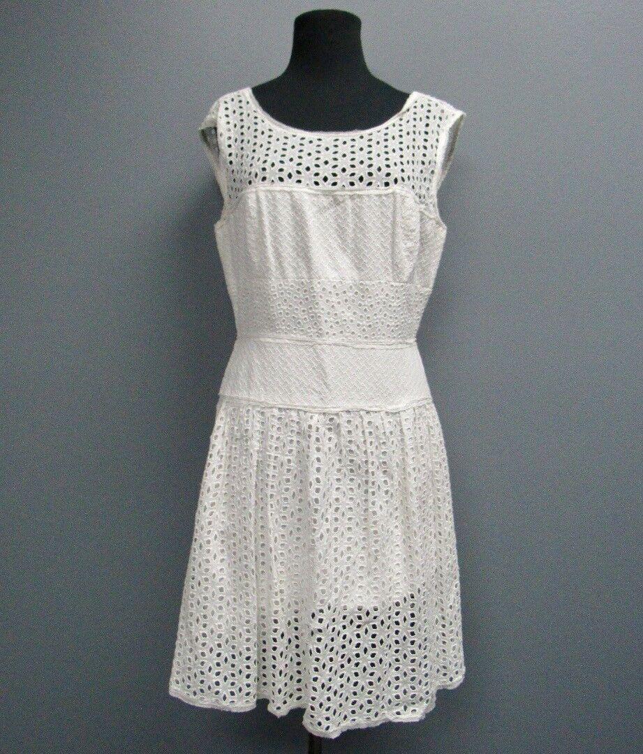 BCBG MAXAZRIA White Cotton Sleeveless Eyelete Zippered Dress Size 8 FF8571