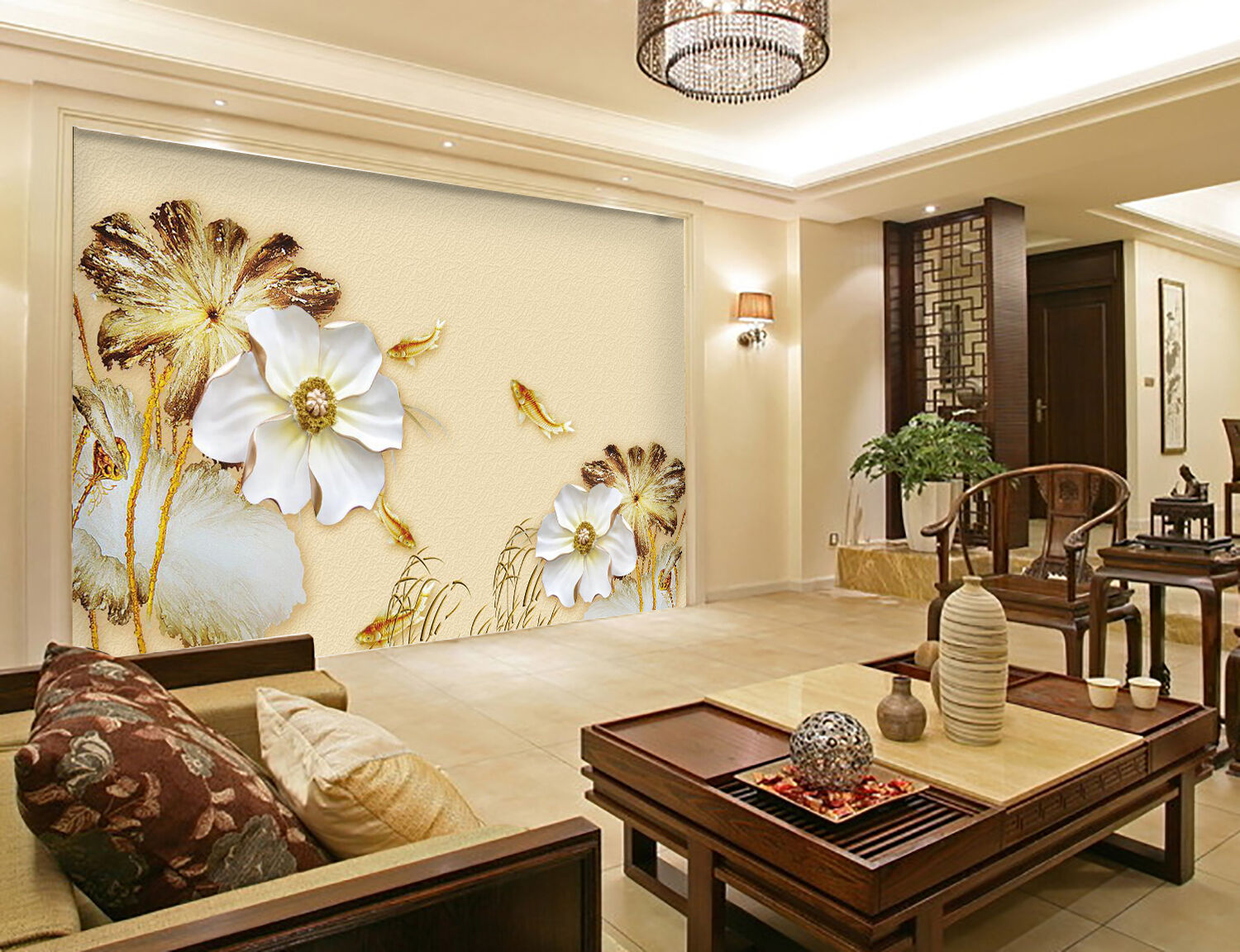 3D Elegant Flowers Fishes 28 Paper Wall Print Wall Decal Wall Deco Indoor Murals