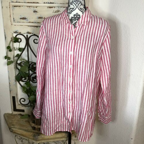 Tommy bahama linen pink & white striped button up