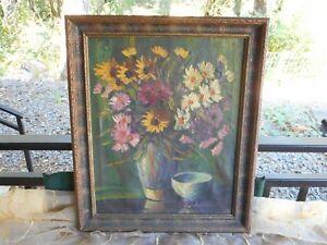 Rare-Dutch-Artist-RIEUWERS-Original-Danish-Floral-Oil-Painting-Vintage-1950s