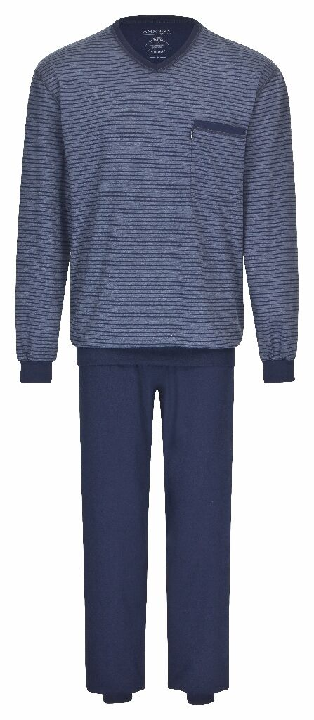 AMMANN Herren Marken Pyjama Schlafanzug lang  Gr. 66  blau Bündchen  NEU