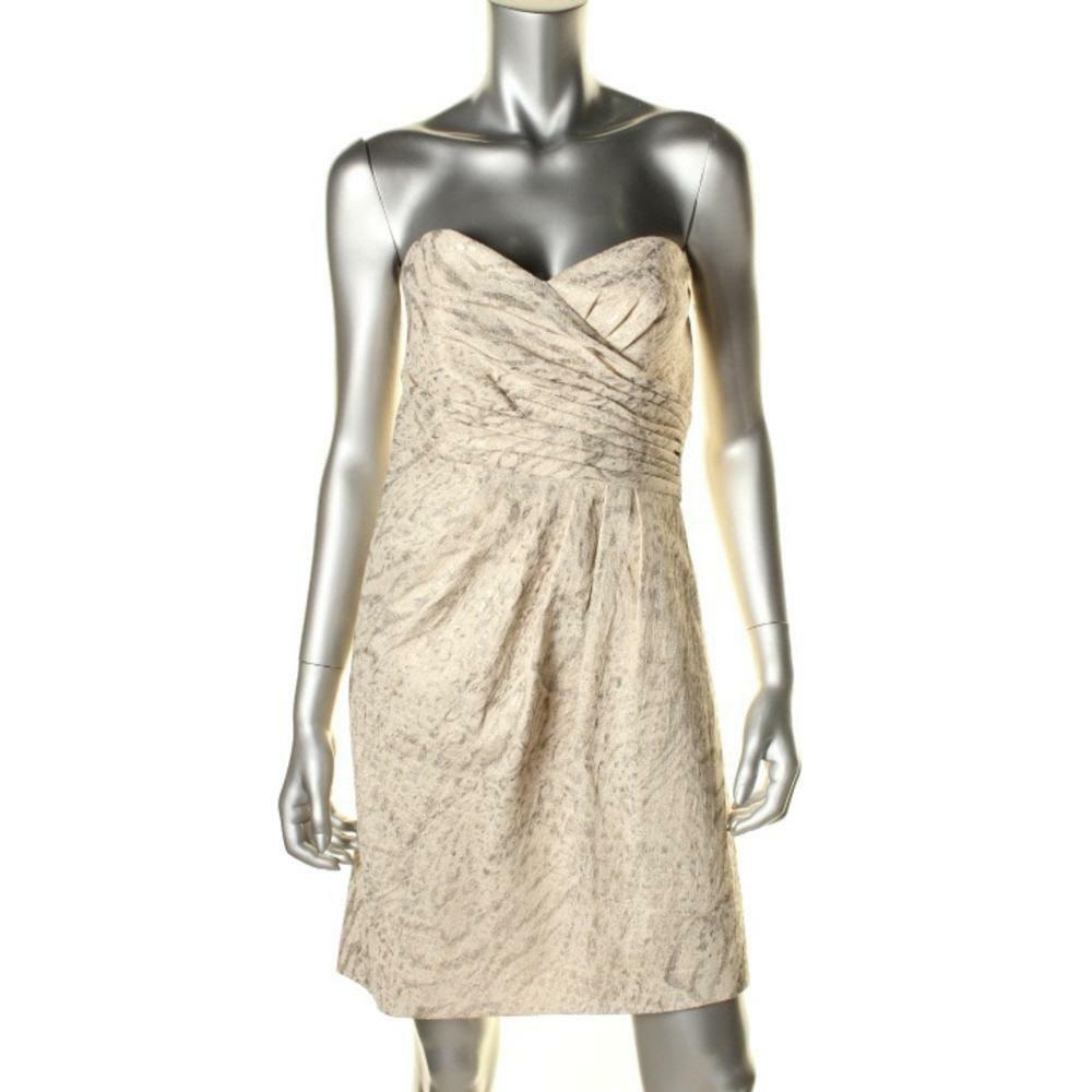 Laundry by Shelli Segal Gold Metallic Strapless Cocktail Party Dress Sz 10 NWT