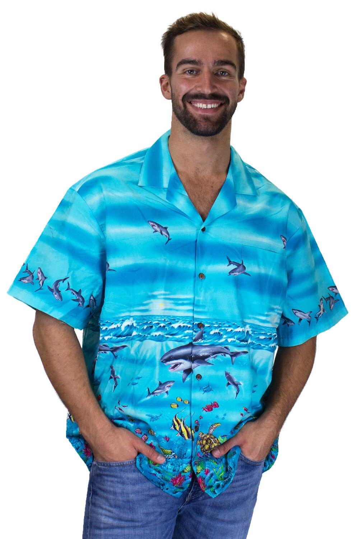 KY's Original Camicia Hawaiana Squali Sharks Turchese