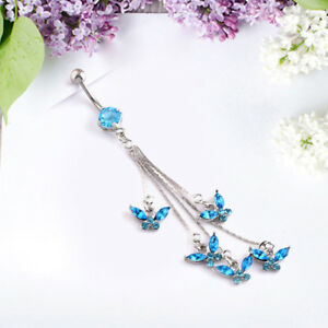 Crystal-Butterfly-Butterfly-Button-Belly-Navel-Ring-Body-Piercing-Jewelry-Fashio