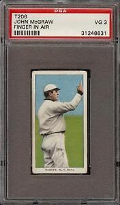 1909-11-T206-HOF-John-McGraw-Finger-In-Air-Piedmont-150-New-York-PSA-3-VG