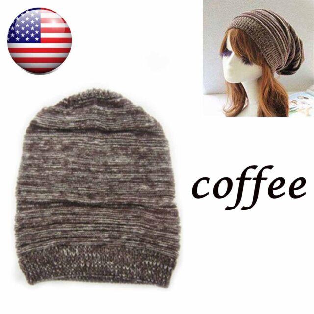 0e7ef2f281ae7 Womens Mens Knit Baggy Beanie Hat Winter Warm Oversized Ski Cap Coffee US  STOCK
