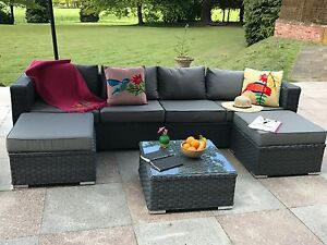 Image Is Loading Papaver 6 Seater Rattan Corner Sofa Set Garden