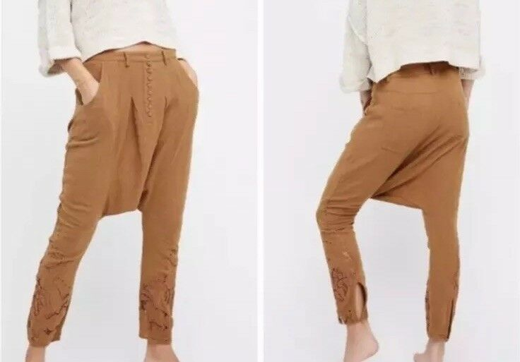 Free People One Teaspoon Cutwork Harem Drop Credch Pants Rust Brown Size Xs  198