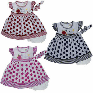 Baby Girl Dress Matching Headband Diaperwear Clothes Outfit Size 3 6