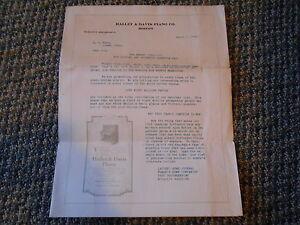 Old Vintage Antique 1916 Hallet & Davis Piano Boston Papier Publicité Virtuolo-afficher Le Titre D'origine Bien Vendre Partout Dans Le Monde