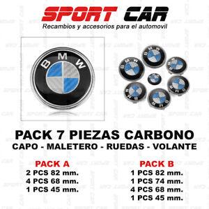 PACK-7-INSIGNIAS-BMW-CARBONO-AZUL-Y-BLANCO-EMBLEMA-CAPO-MALETERO-VOLANTE-RUEDAS