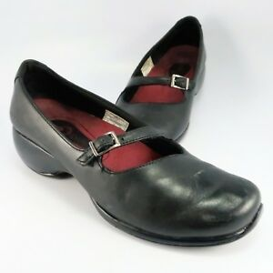 Merrell-SPIRE-EMME-Mary-Jane-Mocs-Womens-Size-7M-Black-Leather-Slip-Ons-Loafers