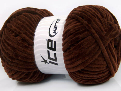 FONCE BRUN 4 PELOTES DE LAINE ICE YARNS CHENILLE BABY 100/% MICROFIBER