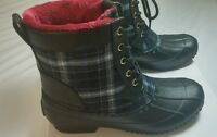 Tommy Hilfiger Womens Duck Boots Roberta 4 Navy Blue & Pink Lace Up Shoes 8 M