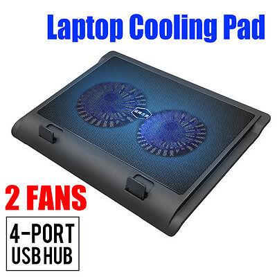 Laptop Super Silent Cooling Stand Pad  2 LED Cooler Fan w/ USB Hub LX790