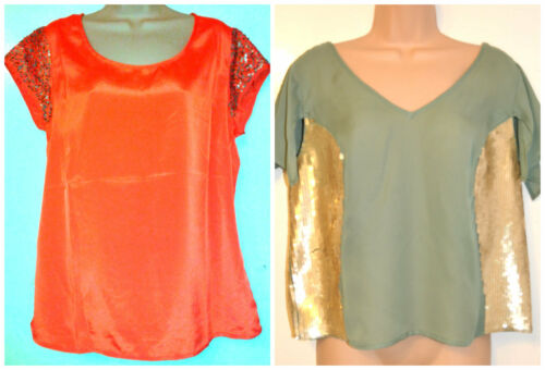 size 14-20-BNWT M/&S PER UNA //LIMITED COLLECTION Ladies Short Sleeve Sequin Top
