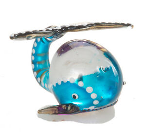 Mini-Whale-Blue-Fish-Hand-Blown-Blowing-Glass-Art-Animal-Fancy-Collectibles