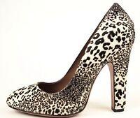 Alaia Black & Ivory White Leopard Fur Calfhair Pony Pump Heels 38 7.5 Us $1535