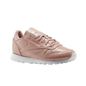41225796032d7 Image is loading Reebok-Classic-Leather-Crackle-CHALK-PINK-WHITE-Women-