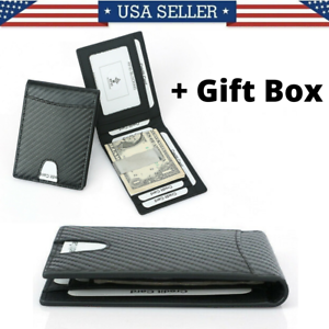 Leather-Bifold-Slim-Men-039-s-Wallet-Carbon-Fiber-RFID-Blocking-Case-with-Money-Clip