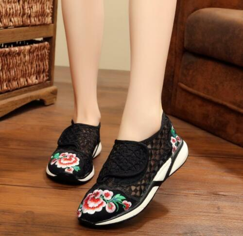 Women/'s Floral Maille bout pointu chaussures plates Mocassins Broderie Loisirs Chaussures à Enfiler