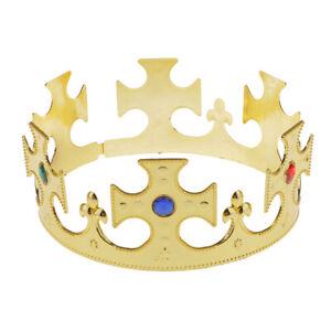 New-Gold-Plastic-King-Queen-Jewel-Nativity-Majestic-Crown-Fancy-Dress-Hat