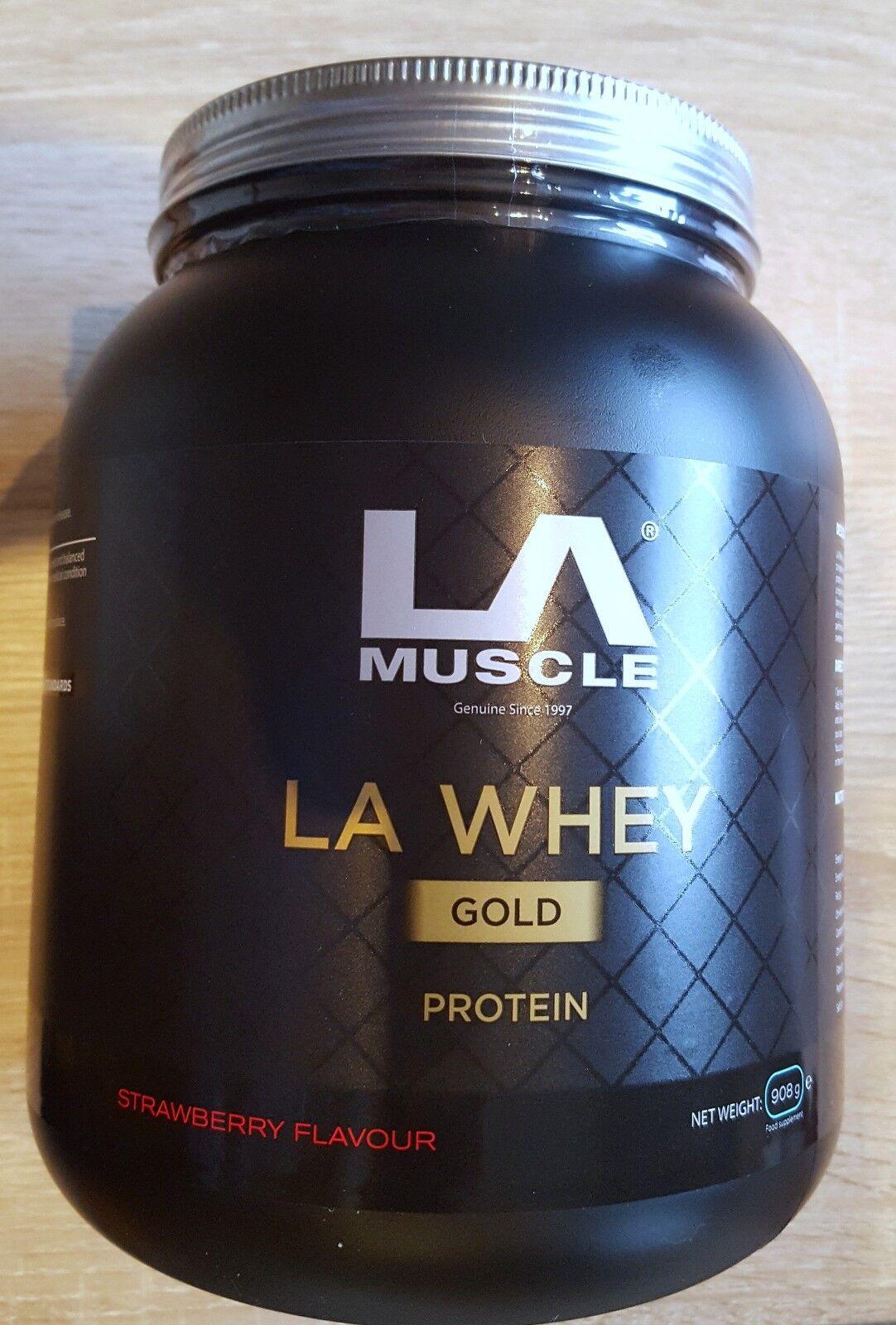 LA Muscle LA Whey GOLD Protein - 908g 908g - Strawberry Flavour - Brand New Sealed Tub a80e06