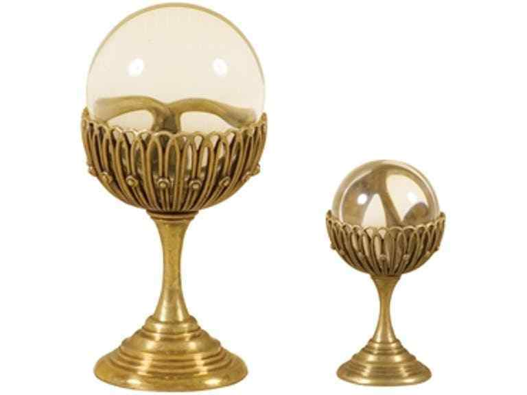 Maitland-Smith 8206-10  Set Of Two Glass Spheres On Brass Stands RETIrot ITEM