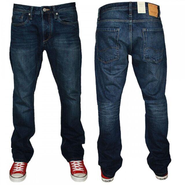 Jack /& Jones Mens Clark Comfort Fit Straight Leg Jeans Dark Used Look BNWT