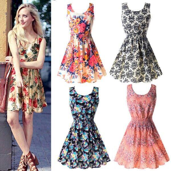 S-XXL Women Casual Summer Beach Chiffon Slim Sleeveless Vest Mini Dress Sundress