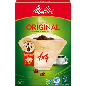 40 COFFEE FILTER PAPERS 1 x 4 SIZE 4 COFFEE FILTER CONES , DELONGHI MELITTA