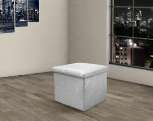 Prime Details About Folding Glitter Sparkle Ritz Bling Storage Box Ottoman Stool 38X38C Silver Grey Bralicious Painted Fabric Chair Ideas Braliciousco
