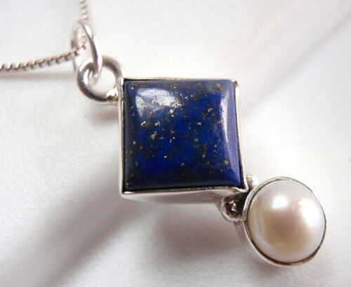 Cultured Pearl et LAPIS LAZULI Pendentif Argent Sterling 925 Corona Sun Jewelry