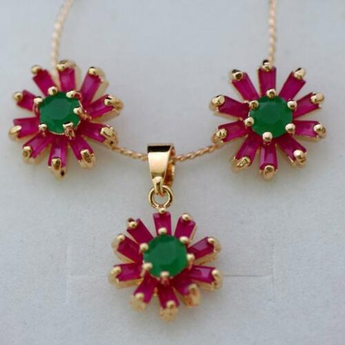 NATURAL FLOWER RED RUBY-GREEN EMERALD NECKLACE EARRING SET FINE