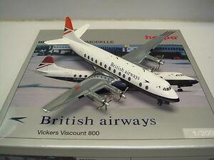 "Herpa Wings 200 British Airways BA Vickers Viscount 800 ""1960s Red Tail color"""