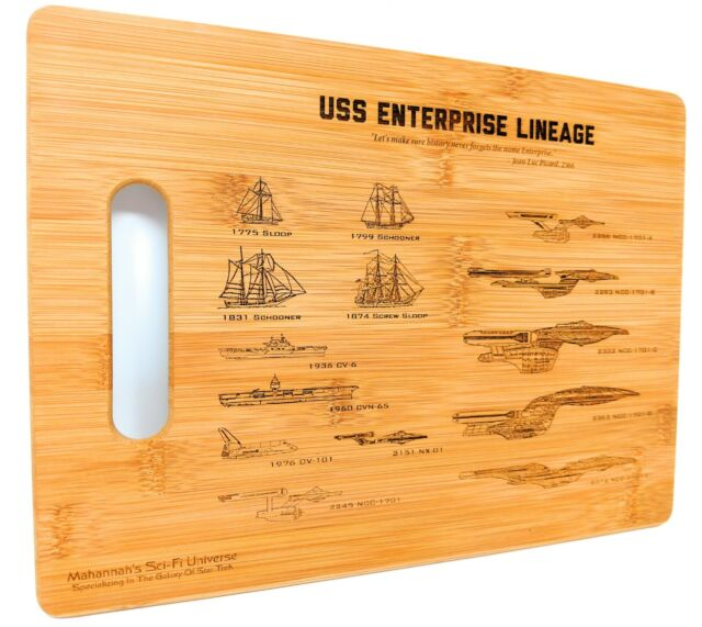 Star Trek U S S  Enterprise NCC-1701 Lineage Laser Engraved Bamboo Cutting  Board