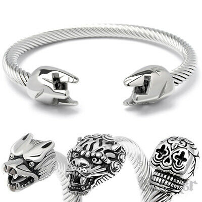 Edelstahl Armreif Skull Armband-22 cm Schädel Totenkopf old-school punk hardcore