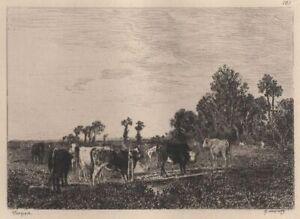 Constant-Troyon-Vaches-passant-un-pont-Eau-Forte-Delauney-XIXe