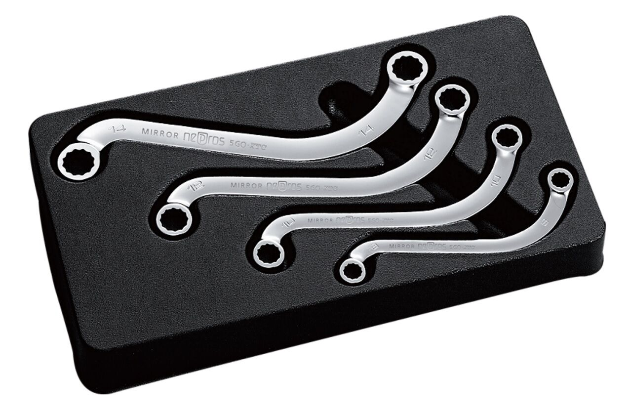 KTC - NEPROS / S-SHAPED BOX END END END WRENCH 4 PICES SET / NTM1204 / MADE IN JAPAN 772cea