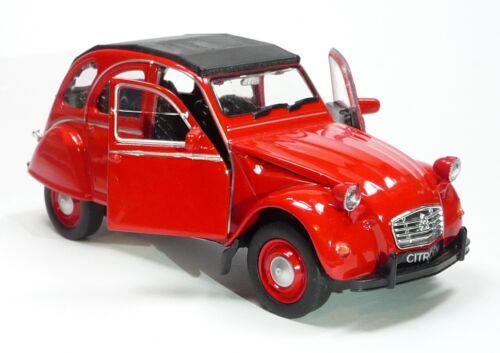 geschlossen Citroen 2CV Ente Modellauto 1:34  WELLY Spritzguss ca 12cm rot